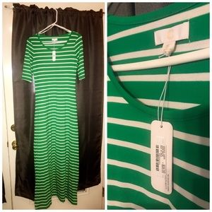 Charming Charlie Dresses - Green and white stripe maxi dress